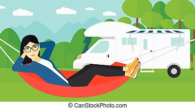 An asian woman lying in a hammock on the background of motorhome in the forest vector flat design illustration. Horizontal layout.