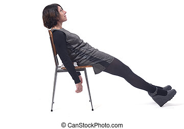 woman lying on a chair with white background