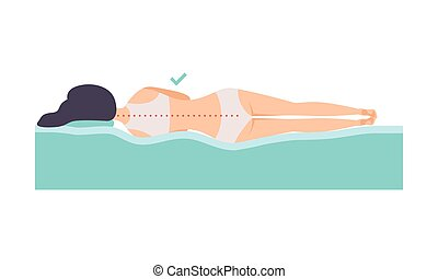 Woman lying on her side, correct sleeping posture for neck and spine, healthy sleeping position, orthopedic mattress and pillow vector Illustration