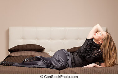Woman lying on the couch