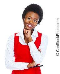 woman., młody, handlowy, afrykanin