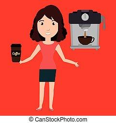 woman machine coffee cup