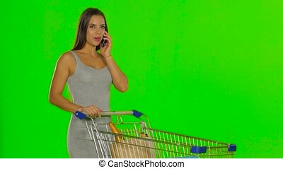 Woman made the purchase and calls on mobile. Green screen -...