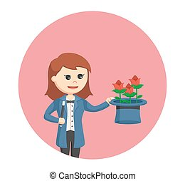 woman magician with flower form her hat in circle background