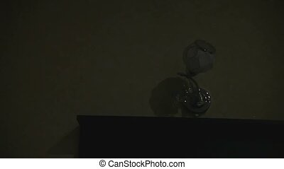Woman maid administrator includes night lamp in hotel before...