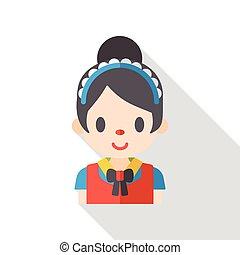 woman maid flat icon