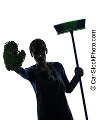 woman maid housework brooming stop silhouette