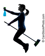 woman maid housework flying broom silhouette