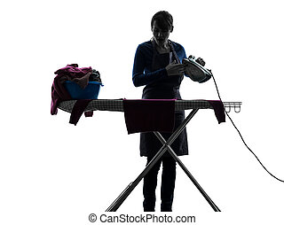 woman maid housework ironing silhouette