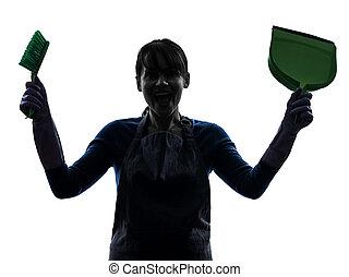 woman maid housework silhouette
