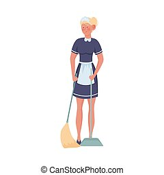 Woman maid standing and sweeping floor vector illustration