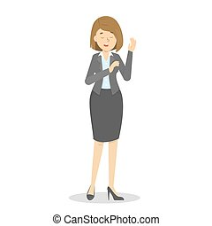Woman make promise to speak the truth. Businesswoman in suit...