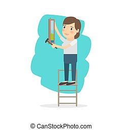 Woman make repairs in the apartment