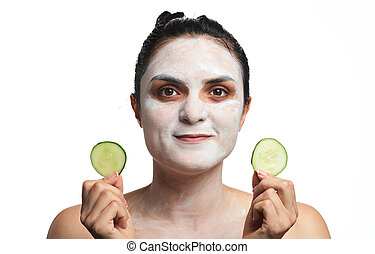 woman make skin treatment