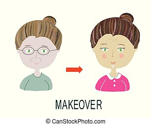 Woman makeover - with make up and hairdo