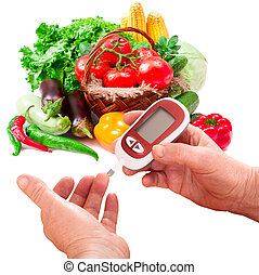Woman makes measurement Testing high blood sugar. Diabetes concept glucometer for glucose level blood test in hand and healthy organic food on white background