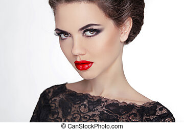 Woman. Makeup. Stare. Vintage Style Mysterious Lady. Retro female