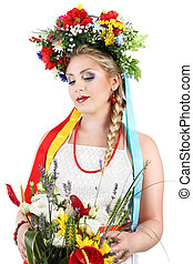 woman makeup with flowers on white background, spring concept