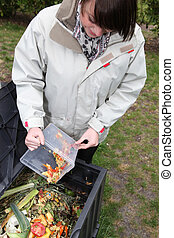 Woman making a compost