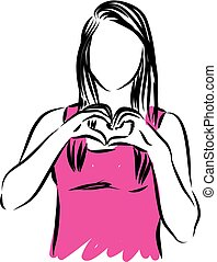 woman making a heart shape vector illustration