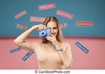 Woman making a picture