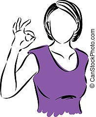 woman making all right gesture illustration