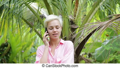 Woman Making Call Using Cell Smart Phone Outdoors Beautiful...