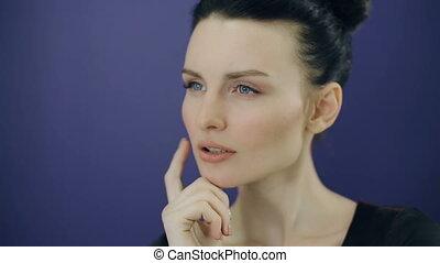 Woman making decision - Beautiful Thinking woman making...