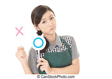 Asian woman in apron isolated on white background
