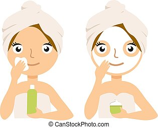 Woman Making Facial Mask Home Spa Treatment Procedure