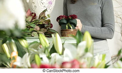 Woman making flowers arrangement of red roses in wicker basket