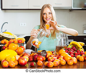 woman making fruits beverages