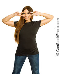 Woman making hand v-sign mask with blank black shirt