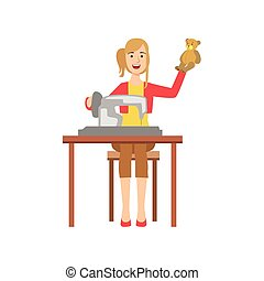 Woman Making Handmade Toys, Creative Person Illustration