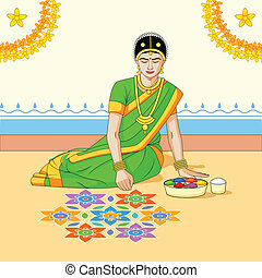 Woman making rangoli for Indian festival