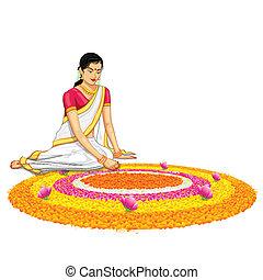 illustration of woman making rangoli for onam