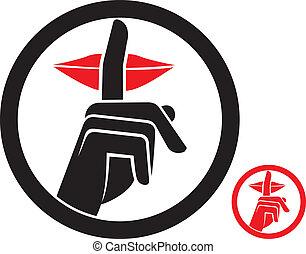 woman making silence sign, silence symbol, no speak sign, hand making silence sign