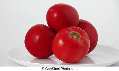 woman making tomato smoothie or juice