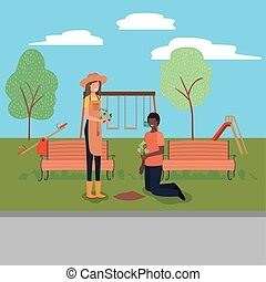 Woman man and gardening concept vector design