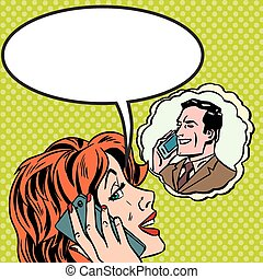 Woman man phone talk Pop art vintage comic - Pop art vintage...