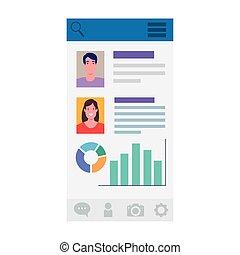 woman man profiles and data on screenshot design, Social media multimedia communication and digital marketing theme Vector illustration