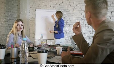 Woman manager is explaining to colleagues a business strategy and drawing chart at business conference.