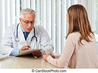 woman., mann, patient, senioren, doktor