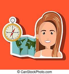 woman map world global travel