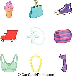 Woman marketing icons set, cartoon style