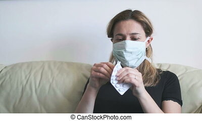 woman mask drugs - woman sick health care emergency with ...