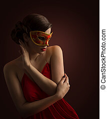 Woman Mask, Sexy Fashion Model Posing in Red Carnival Masquerade, Desire Girl side view