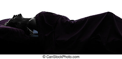 one woman in bed masturbating silhouette studio on white background