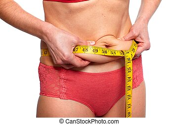 Woman measuring fat abdomen. Overweight and weight loss...