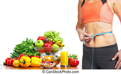 Woman measuring her body - Woman measuring her body. Diet...